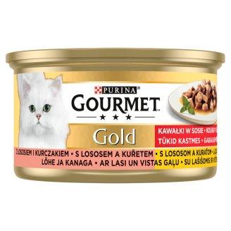 Gourmet Gold Falatok Szószban nedves macskaeledel lazaccal és csirkével 85 g