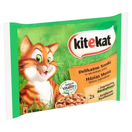 Kitekat Házias Menü Complete Pet Food for Adult Cats with Lamb and Rabbit 4 x 100 g