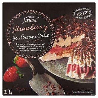 Tesco Finest vanília-eper jégkrém csokoládé bevonattal, mandulás-vajkaramellás darabkákkal 1 l