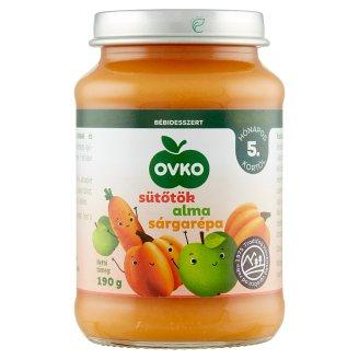 Ovko glutén- és tejszármazékmentes sütőtök almával, sárgarépával bébidesszert 5 hónapos kortól 190 g