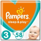 Pampers Sleep&Play, 3-as Méret, 58 db Pelenka, 6–10 kg
