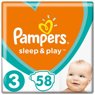 Pampers Sleep & Play Size 3, 58 Nappies, 6-10Kg, Trusted Dryness