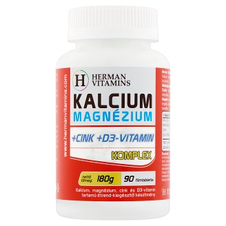 Herman Vitamins Calcium Magnesium +Zinc +Vitamin D3 Complex Food Supplement 90 pcs 180 g
