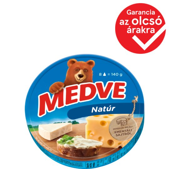 Medve Unflavoured, Fat, Processed Cheese Spread 8 pcs 140 g