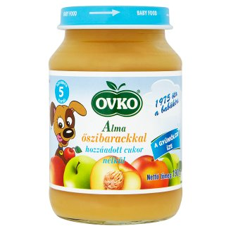 Ovko Gluten-, Dairy- and Sugar-Free Apple with Peach Dessert for Babies 5+ Months 190 g