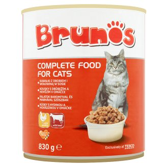 Brunos Complete Food for Cats Bites with Poultry and Beef in Sauce 830 g