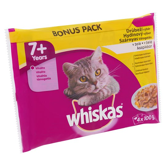 Whiskas 7+ Poultry Selection Complete Pet Food for 7+ Years Cats 4 x 100 g