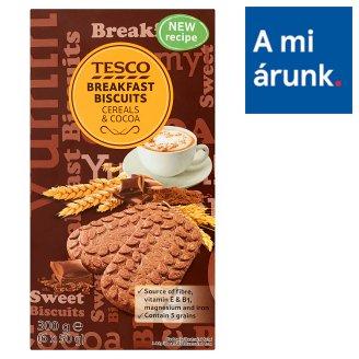 Tesco 5 féle gabonával, tejcsokoládé darabokkal és kakaóval készült kekszek 6 x 50 g