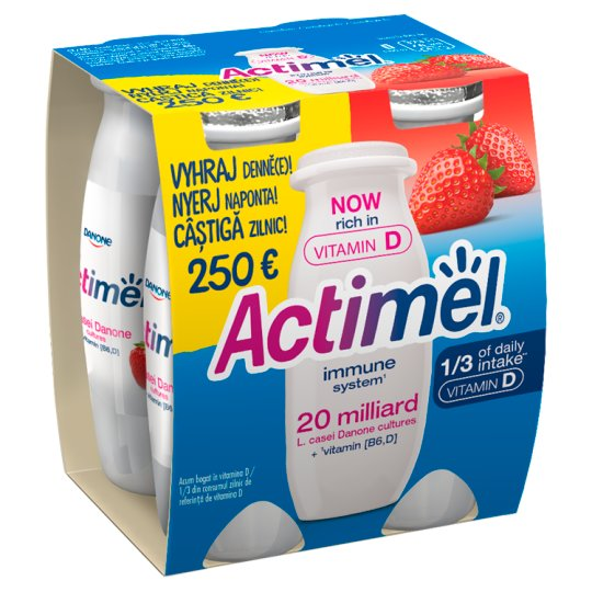 Danone Actimel Low-Fat Strawberry Flavoured Yoghurt Drink with Live Culture 4 x 100 g