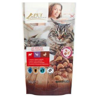 Tesco Pet Specialist ropogós falatok marhával, pulykával, kacsával kiegészítő eledel macskáknak 50 g