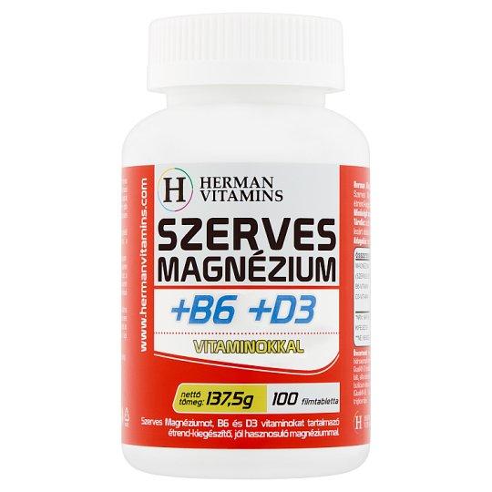 Herman Vitamins Szerves Magnézium +B6 +D3 vitaminokkal étrend-kiegészítő 100 db 137,5 g