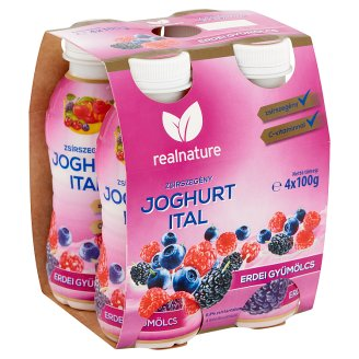 Real Nature Forest Fruits Low-Fat Yoghurt Drink 4 x 100 g