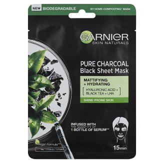 Garnier Skin Naturals Pure Charcoal Purifying & Hydrating Mattifying Mask to Shine Prone Skin 28 g