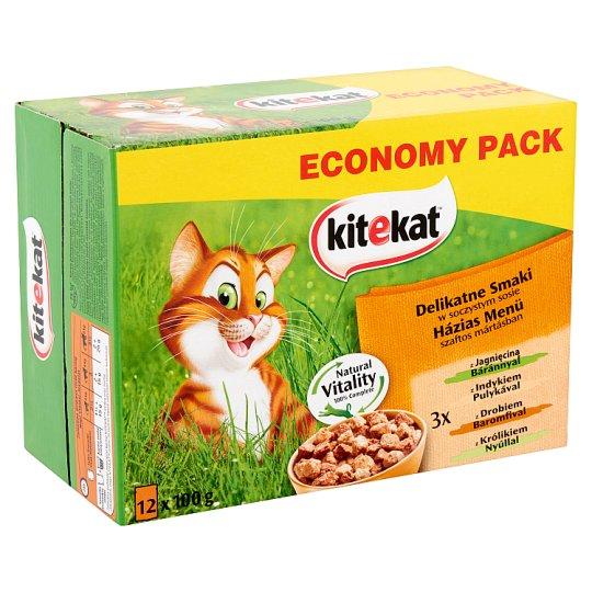 Kitekat Házias Menü teljes értékű állateledel felnőtt macskák számára szaftos mártásban 12 x 100 g