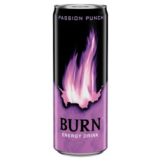 Burn Passion Punch Carbonated Passion Fruit Flavoured Drink with Caffeine 250 ml