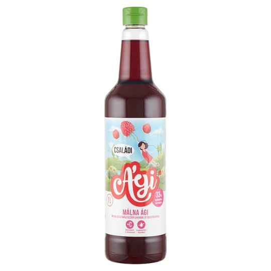 Ági Málna Ági vegyes gyümölcsszörp málna ízzel, cukorral és édesítőszerrel 1 l