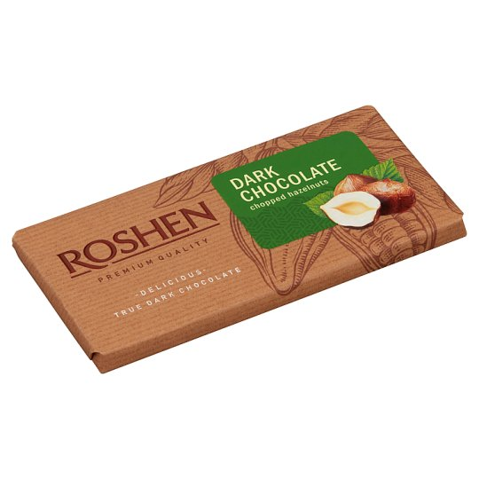 Roshen Dark Chocolate with Chopped Hazelnuts 90 g