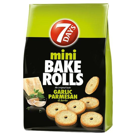 7DAYS Mini Bake Rolls parmezán sajt-fokhagyma-zöldfűszeres ízű ropogós kétszersült 80 g