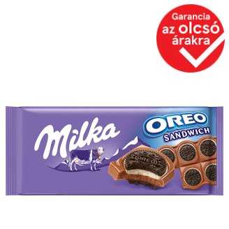 Milka & Oreo Sandwich Cocoa Biscuits with Vanilla Flavoured, Milky Filling on Milk Chocolate 92 g