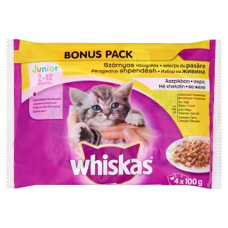 Whiskas Junior Poultry Mix Complete Pet Food for Junior Cats in Jelly 4 x 100 g