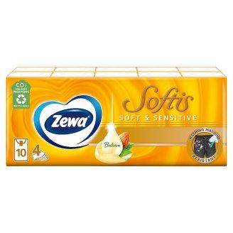 Zewa Softis Soft & Sensitive illatmentes papír zsebkendő 4 rétegű 10 x 9 db