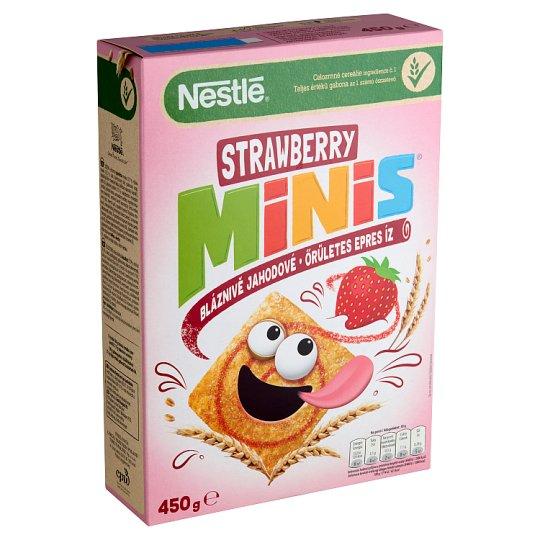 Nestlé Strawberry Minis ropogós, epres gabonapehely teljes kiőrlésű búzával 450 g