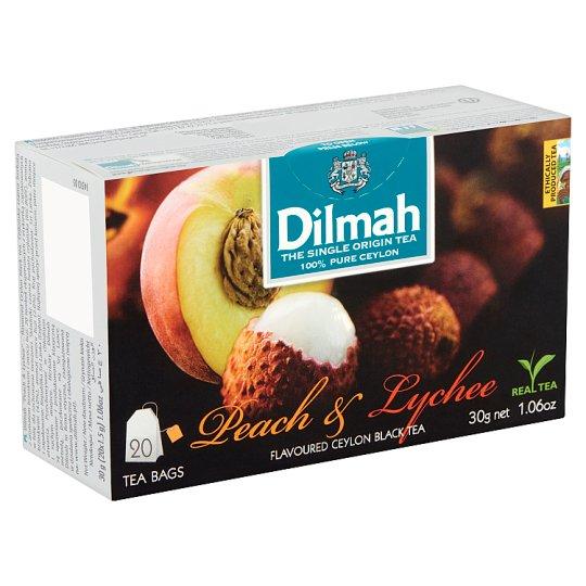 Dilmah Peach & Lychee Flavoured Ceylon Black Tea 20 Tea Bags 30 g