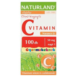 Naturland Vitalstar C-vitamin narancs ízű étrend-kiegészítő rágótabletta gyermekeknek 100 db 89 g
