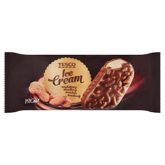 Tesco vanília jégkrém tejcsokoládéba mártva, pörkölt manduladarabokkal 120 ml