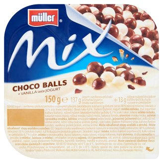 Müller Mix Choco Balls Vanilla Flavoured Yoghurt with Puffed Rice Coated with Chocolate 150 g