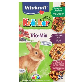 Vitakraft Kräcker Trio-Mix Vegetable & Walnut & Forest Fruit Complementary Food for Rabbits 3 x 56 g