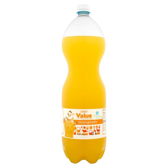 Tesco Value Orangeade Orange Flavoured Carbonated Drink with Sweeteners 2 L