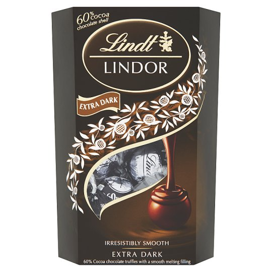 Lindt Lindor Extra Dark Cocoa Chocolate Truffles with a Smooth Melting Filling 200 g