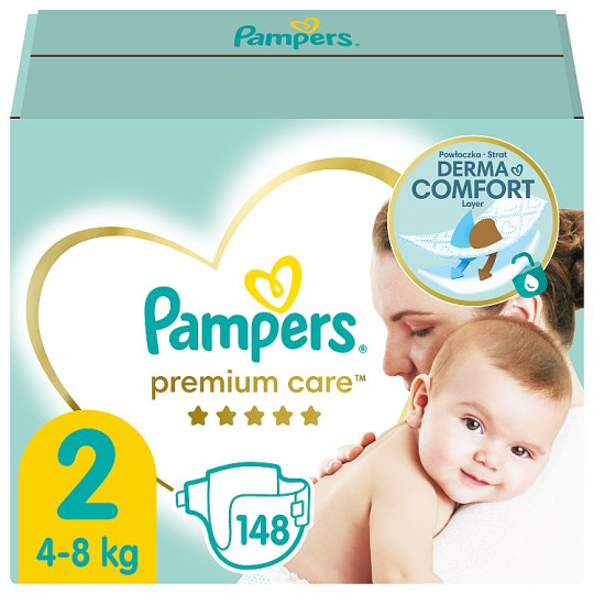 Pampers Premium Care Size 2, Nappy x148, 4kg-8kg