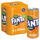 Fanta Orange Flavoured Carbonated Soft Drink with Sugar and Sweeteners 4 x 250 ml