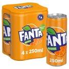 Fanta narancs szénsavas üdítőital cukorral és édesítőszerekkel 4 x 250 ml
