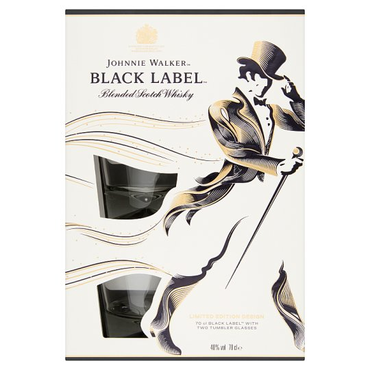 Johnnie Walker Black Label skót whisky + 2 pohár 40% 0,7 l