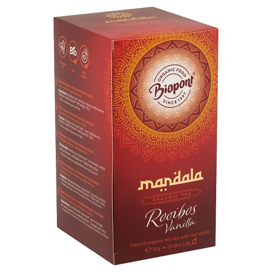 Biopont Mandala Rooibos Vanilla filterezett vörös BIO tea valódi vaníliával 20 filter 36 g