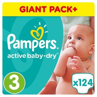 Pampers Active Baby-Dry Pelenka 3-as (Midi), 124 Darabos Kiszerelés