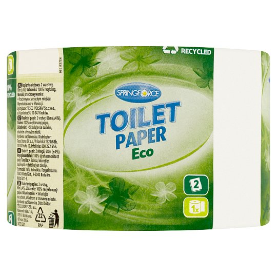 Springforce Eco Toilet Paper 2 Ply 1 Roll