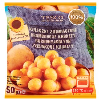 Tesco gyorsfagyasztott, félkész fűszeres burgonyagolyók ropogós bundában 750 g