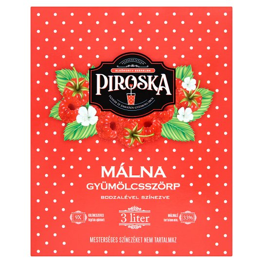 Piroska Raspberry Fruit Syrup Colored with Elderberry Juice 3 l
