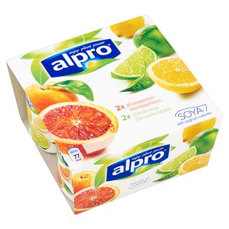 Alpro Blood Orange & Lemon-Lime Flavoured Soy Product 4 x 125 g