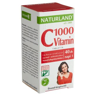 Naturland Premium 1000 mg Vitamin C Supplement Pills 40 pcs 53,04 g