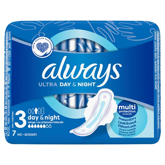 Always Ultra Night (Size 3) Sanitary Towels Wings 7 Pads