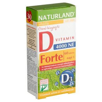 Naturland Vitalstar D-vitamin 4000 NE forte étrend-kiegészítő tabletta 60 db 11,01 g