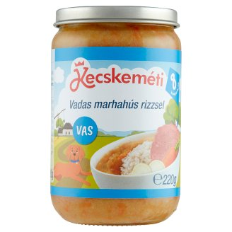 Kecskeméti Gluten- and Dairy-Free Beef with Rice Baby Food 8+ Months 220 g