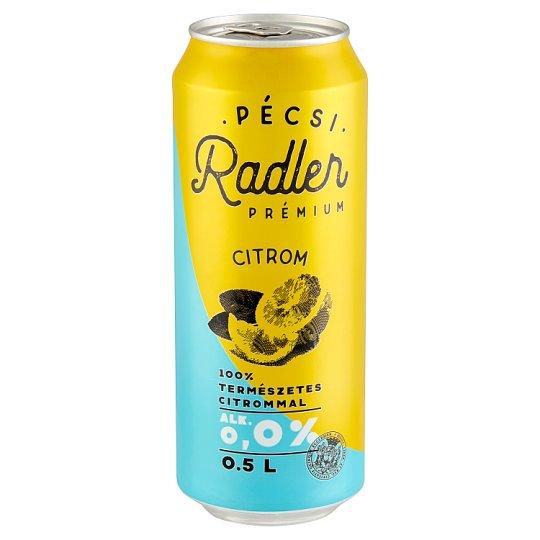 Pécsi Radler Prémium alkoholmentes világos sör és citrom ízű szénsavas üdítőital keverék 0,5 l