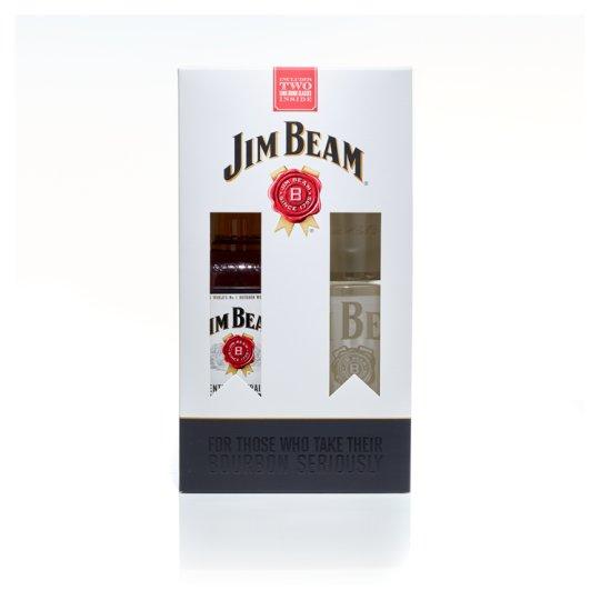 Jim Beam Bourbon Whiskey + 2 Glasses 40% 0,7 l
