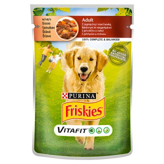Friskies Vitafit Complete Pet Food for Adult Dogs with Lamb and Carrot in Sauce 100 g